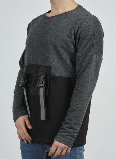XHAN Taş Rengi Cep Detaylı Sweatshirt 1Kxe8-44279-56 Antrasit